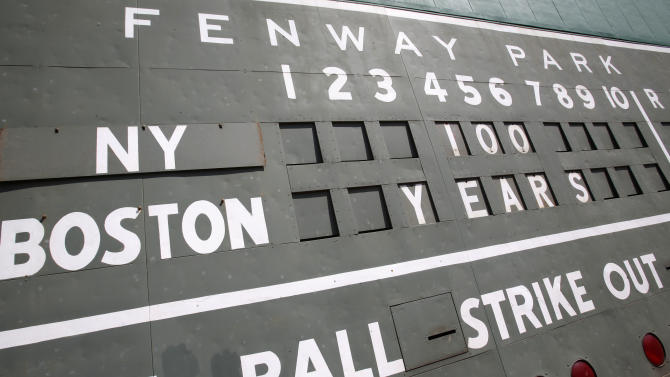 The Green Monster scoreboard at Fenway Park is seen before a baseball game between the New York Yankees and the Boston Red Sox in Boston, on the 100th anniversary of the opening of the ballpark, Friday, April 20, 2012. (AP Photo/Michael Dwyer)