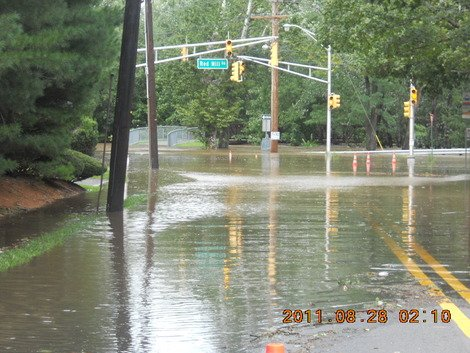 Hurricane Irene - Submerged street in Bergen County, New Jersey. (Photo courtesy of Scarlet Henderson.)
