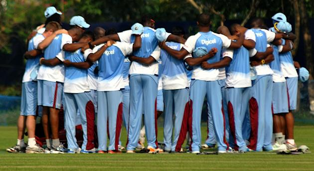 West Indian players practice at at Salt Lake stadium in Kolkata on Oct.30, 2013. (Photo: IANS)