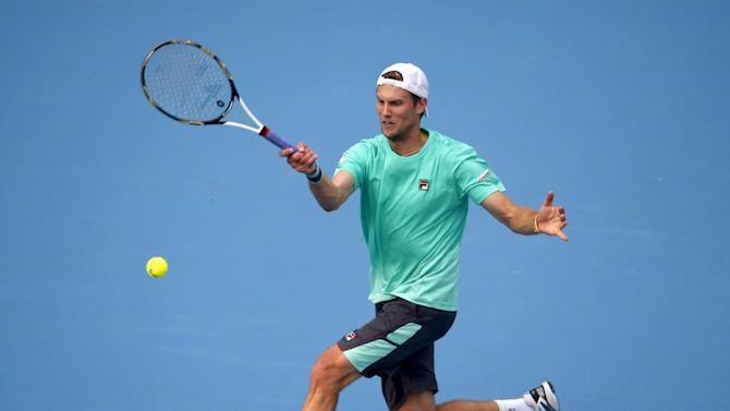 Andreas Seppi of Italy hits a return against David Goffin of Belgium during a men's singles match at the China Open tennis tournament in Beijing