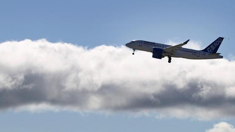 Bombardier's CSeries aircraft takes off for its first test flight in Mirabel, Quebec