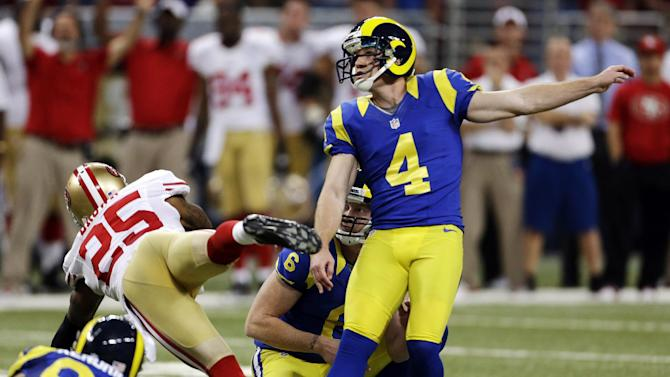St. Louis Rams kicker Greg Zuerlein (4) watches his 54-yard field goal during overtime of an NFL football game against the San Francisco 49ers, Sunday, Dec. 2, 2012, in St. Louis. The field goal gave the Rams a 16-13 victory. (AP Photo/Jeff Roberson)