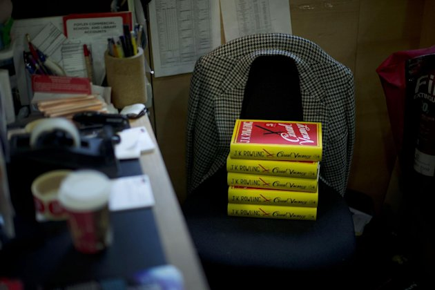 "Copies of the ""The Casual Vacancy"" by author J.K. Rowling rest on a chair behind the sales counter to go on the shelves at a book store in London, Thursday, Sept. 27, 2012. British bookshops are opening their doors early as Harry Potter author J.K. Rowling launches her long anticipated first book for adults. Publishers have tried to keep details of the book under wraps ahead of its launch Thursday, but ""The Casual Vacancy"" has gotten early buzz about references to sex and drugs that might be a tad mature for the youngest ""Potter"" fans. (AP Photo/Matt Dunham)"