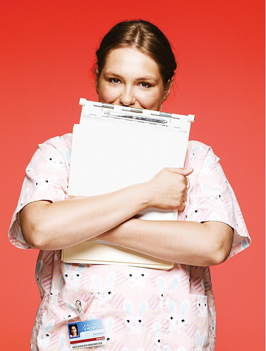 "Merritt Wever as Zoey in ""Nurse Jackie."""