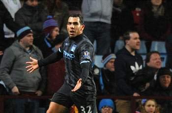 Aston Villa 0-1 Manchester City: Tevez punishes Clark error to keep visitors' slim title hopes alive