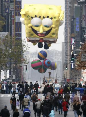 FILE - In this Nov. 26, 2009 file photo, a float representing the animated character SpongeBob is moved east on 42nd Street along the new route of the Macy's Thanksgiving Day Parade, in New York. The cartoon character SpongeBob SquarePants is in hot water from a study Monday, Sept. 12, 2011, suggesting that watching just nine minutes of that program can cause short-term attention and learning problems in 4-year-olds. (AP Photo/Peter Morgan, File)