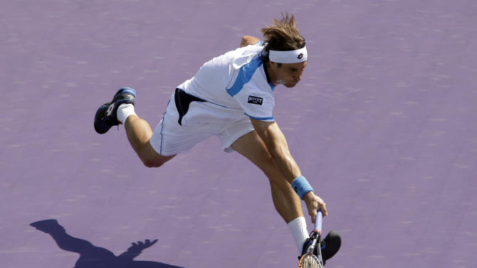 David Ferrer, of Spain, is unable to reach a return by Fabio Fognini, of Italy, during the Sony Open tennis tournament in Key Biscayne, Fla.,  Sunday, March 24, 2013. (AP Photo/Alan Diaz)