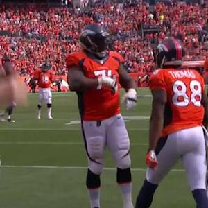 Denver Broncos quarterback Peyton Manning to wide receiver Demaryius Thomas for the 12-yard touchdown