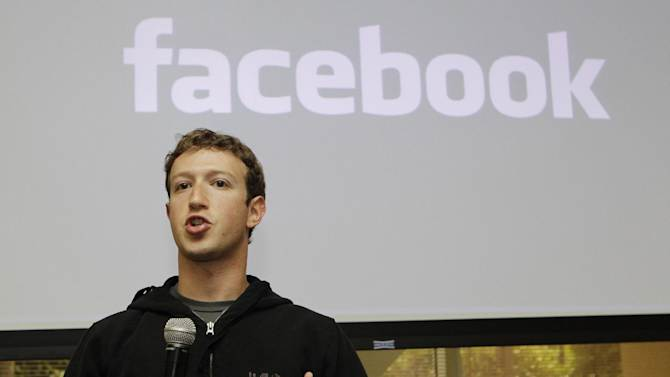 FILE - In this May, 26, 2010 file photo, Facebook CEO Mark Zuckerberg talks about the social network site's new privacy settings in Palo Alto, Calif. Zuckerberg and other executives addressed about 200 prospective investors Friday, May 10, 2012 at a hotel luncheon in Silicon Valley. (AP Photo/Marcio Jose Sanchez, File)