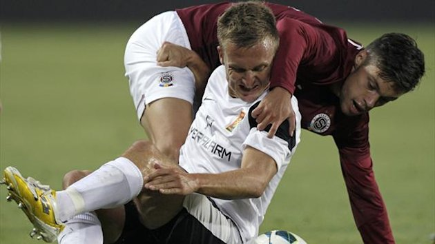 Andreas Schrott (bottom) of Admira Wacker challenges Vaclav Kadlec of Sparta Prague (Reuters)