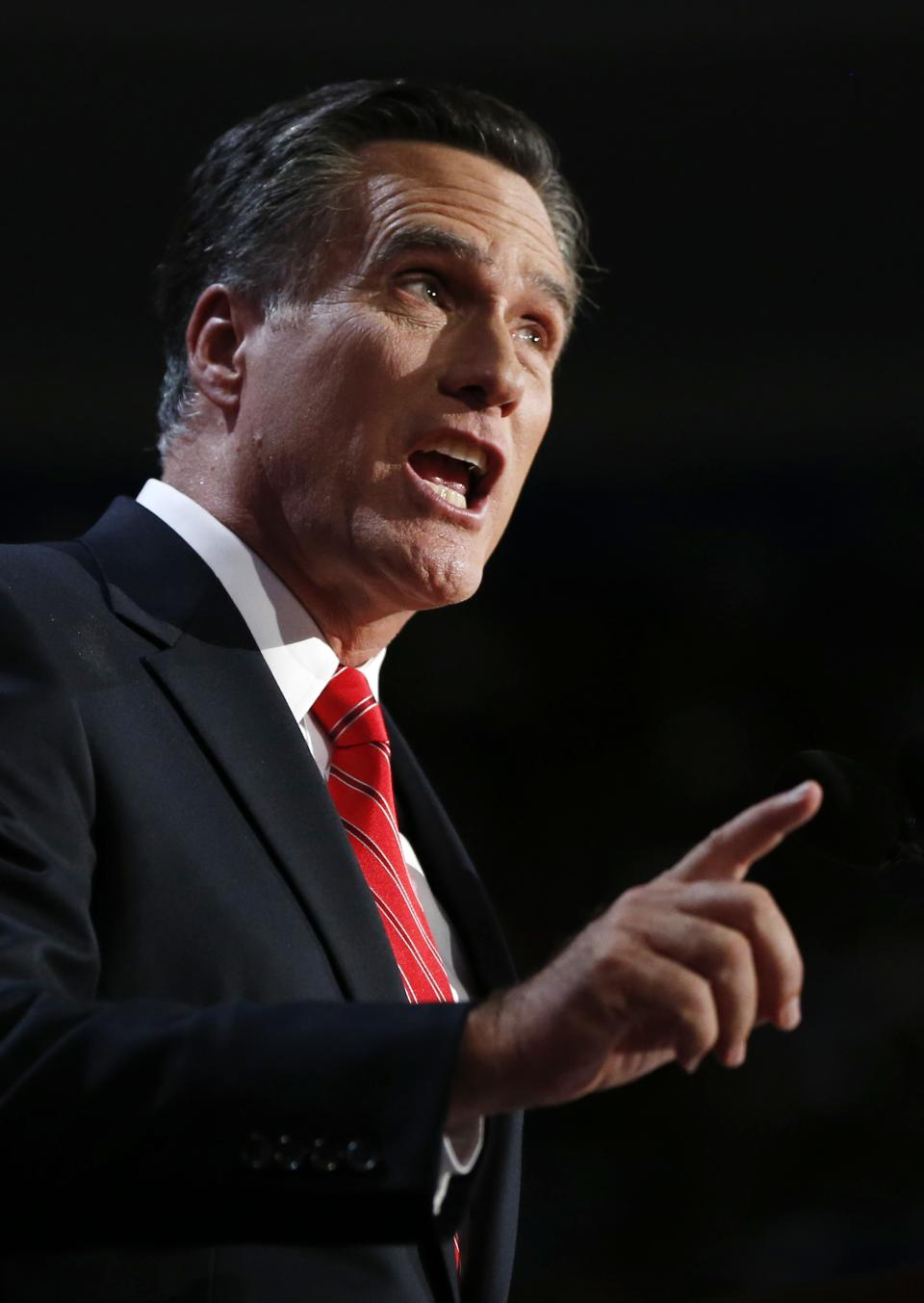 Republican presidential nominee Mitt Romney addresses delegates before speaking at the Republican National Convention in Tampa, Fla., on Thursday, Aug. 30, 2012. (AP Photo/Jae C. Hong)