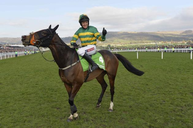 Geraghty riding Jezki celebrates winning the Champion Hurdle Challenge Trophy at the Cheltenham Festival horse racing meet in Gloucestershire
