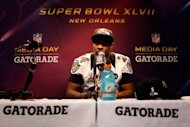 Corey Graham of the Baltimore Ravens answers questions from the media, on January 29, 2013, in New Orleans. The Super Bowl will see more than 30 brands -- from luxury cars to laundry detergent -- forking out as much as $3.8 million for 30 seconds of airtime on the CBS network, making it an advertising showcase like no other
