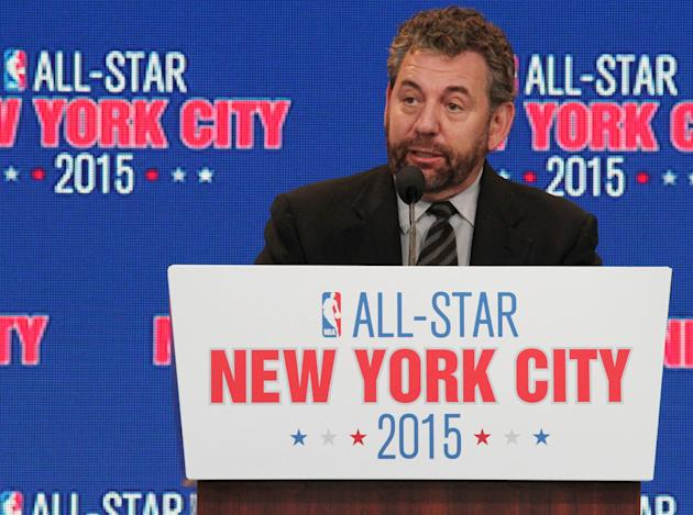 James L. Dolan, executive chairman of The Madison Square Garden Company, speaks during a press conference Wednesday Sept. 25, 2013, in New York, announcing the selection of the city to host the NBA Al