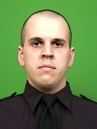 This image provided by the New York City Police Department shows officer Michael Levay, 27, who was shot in the lower back Thursday Jan. 3, 2013, his vest stopped the bullet. He returned fire, killing the suspect. Levay and officer Lukasz Kozicki who was struck three times, Thursday Jan. 3, 2013 were fired upon when they confronted the man on a Manhattan-bound N train.  (AP Photo/New York City Police Department)