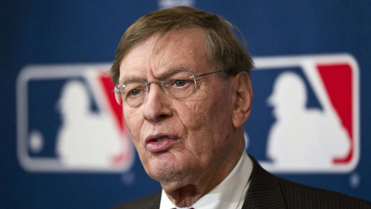 "FILE - This Nov. 17, 2011 file photo shows Major League Baseball commissioner Bud Selig speaking after an owners meeting in Milwaukee. Major League Baseball appears unlikely to interfere if Melky Cabrera wins the NL batting title while serving his 50-game suspension for a positive drug test. Says baseball Selig: ""We'll see how it all plays out. We generally don't interfere in that process. We'll take a look at it at the end of the year."" Selig spoke Wednesday, Sept. 19, 2012,  after a taping of the YES Network's ""CenterStage."" (AP Photo/Morry Gash, File)"