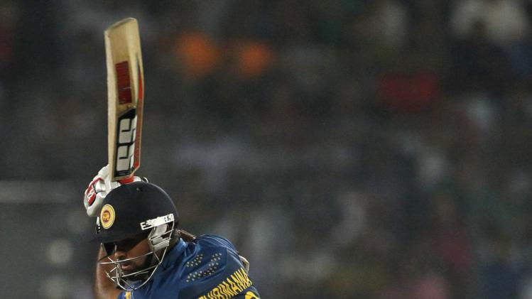 Sri Lanka's Thirimanne plays a ball against Pakistan during their 2014 Asia Cup final match in Dhaka