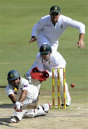 Pakistan's Sarfraz Ahmed plays a shot during the third day of the third cricket Test match against South Africa, in Pretoria