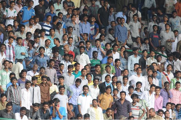 Spectators at M Chinnaswamy Stadium, Bangalore during the ODI match between India A and West Indies A on Sept. 17, 2013. (Photo: IANS)