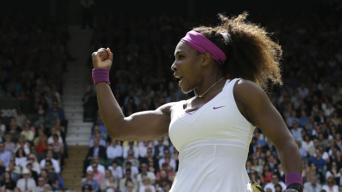 Serena Williams of the United States reacts during a semifinals match against Victoria Azarenka of Belarus at the All England Lawn Tennis Championships at Wimbledon, England, Thursday, July 5, 2012. (AP Photo/Anja Niedringhaus)