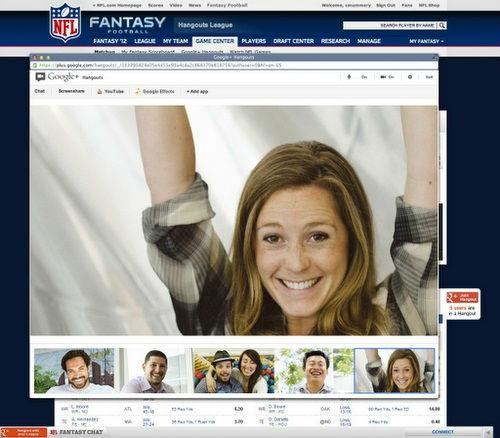 Google Hangout Goes Pro With NFL's Fantasy Fooball League