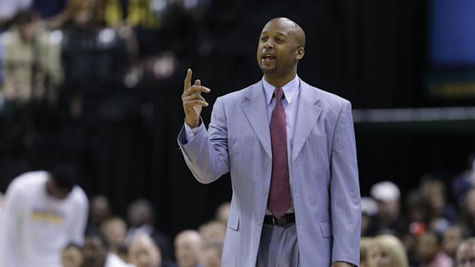 FILE - Associated head coach Brian Shaw coaches the team after head coach Frank Vogel was ejected in the second half of an NBA basketball game against the Cleveland Cavaliers in Indianapolis, in this April 9, 2013 file photo. Shaw has agreed to succeed George Karl as coach of the Denver Nuggets, a person familiar with the negotiations told The Associated Press Monday June 24, 2013. The Nuggets called a news conference for Tuesday afternoon, where team president Josh Kroenke and newly hired general manager Tim Connelly will introduce their new coach. (AP Photo/Michael Conroy, File)