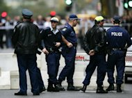 File photo of police in Sydney&#39;s central business district. A Chinese national was among two people arrested when drugs worth Aus$128 million (US$133 million) were seized in Sydney, Australian police said on Friday