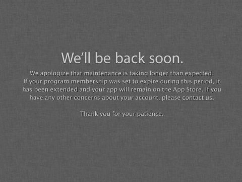 apple developer site down