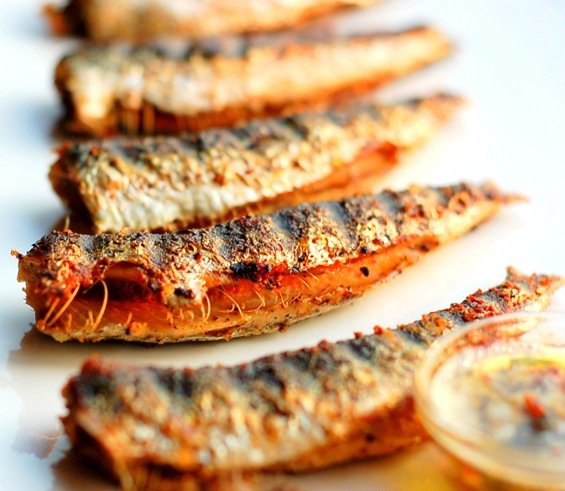 Grilled sardines