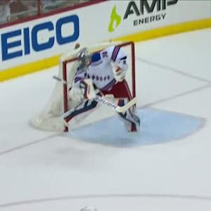 Lundqvist uses his mask to deny Laich