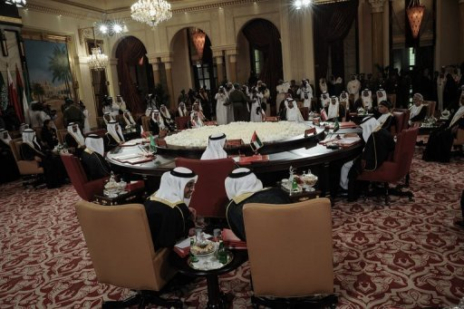 "Gulf Cooperation Council (GCC) leaders ahead of the annual GCC summit at the Sakhir Palace in Manama on December 24, 2012. Leaders of the Gulf Arab monarchies lashed out at Iran as they concluded a two-day Manama summit Tuesday, saying Tehran must immediately and completely stop its ""interference"" in their internal affairs"