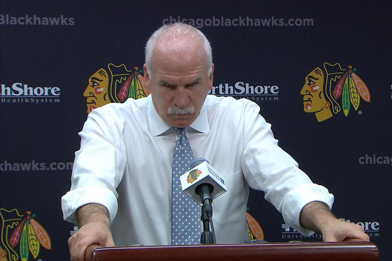Blackhawks coach storms out of press conference after one question about disallowed goal