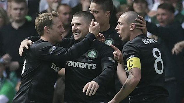 Gary Hooper, centre, scored twice in Celtic's Scottish Cup final victory over Hibernian