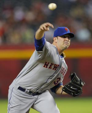 New York Mets pitcher Matt Harvey throws his first pitch in his major league debut during the first inning of a baseball game against the Arizona Diamondbacks, Thursday, July 26, 2012, in Phoenix. (AP Photo/Matt York)