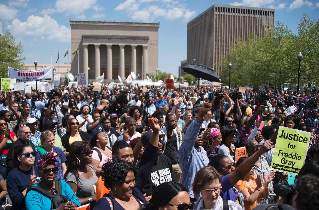 Thousands rally in Baltimore over Freddie Gray death