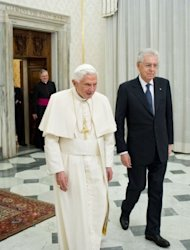 This picture released by the Vatican press office on February 16, 2013 shows Pope Benedict XVI (L) walking with Italy's outgoing Prime Minister Mario Monti during a private audience in the pontiff's library at the Vatican