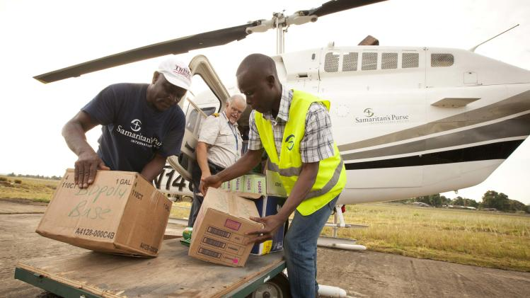 Samaritan's Purse team members help with supplies in Liberia
