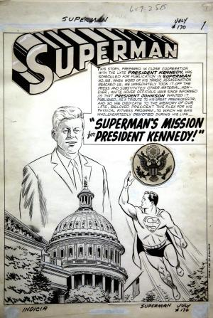 "A page of original art work drawn by Al Plastino for the 1964 DC comic book ""Superman's Mission for President Kennedy"" is on display for the first time today at the John F. Kennedy Presidential Library and Museum in Boston, Thursday, March 20, 2014. After publication the art went missing until 1993. It was finally donated to the library's permanent collection in December 2013 by comic book publisher DC Entertainment and will be on display through May 31, 2014. (AP Photo/Stephan Savoia)"