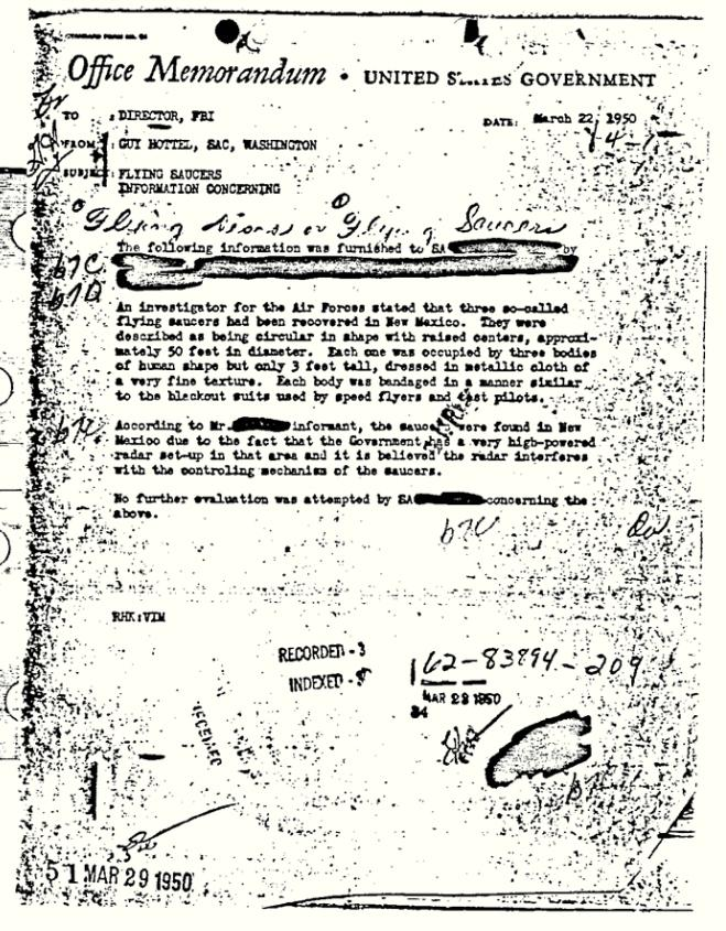 "This 1950 document released by the FBI under the Freedom of Information and Privacy Acts Section, shows a Federal Bureau of Investigation report of ""flying saucers"" in New Mexico sent to then-Director J. Edgar Hoover in 1950. The document has become the FBI's most popular file in the bureau's electronic reading room. (AP Photo/FBI)"