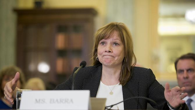 General Motors CEO Mary Barra testifies on Capitol Hill in Washington, Wednesday, April 2, 2014, before the Senate Commerce, Science and Transportation subcommittee. Barra is back before Congress, where members of a Senate subcommittee are expressing doubts that the culture at the nation's No. 1 automaker has really changed. (AP Photo/Pablo Martinez Monsivais)