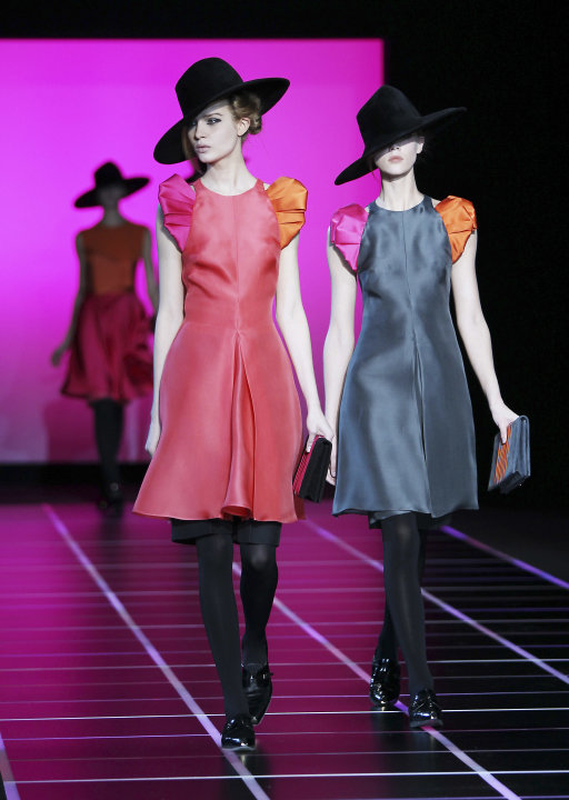 A model wears a creation part of the Giorgio Armani Women's Fall-Winter 2012-13 fashion collection, during the fashion week in Milan, Italy, Monday, Feb. 27, 2012. (AP Photo/Antonio Calanni)