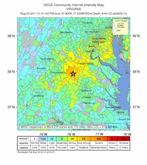 2011 Virginia Earthquake Felt by Third of US
