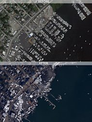 Staten Island, N.Y., before and after Hurricane Sandy.