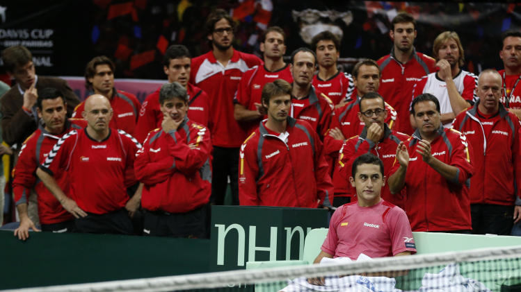 Spain's Nicolas Almagro reacts after losing to Czech Republic's Radek Stepanek during in their Davis Cup finals tennis singles match in Prague, Czech Republic, Sunday, Nov. 18, 2012. Czech Republic defeated Spain 3-2 and gained the Davis Cup trophy. (AP Photo/Petr David Josek)