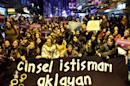 Turkish women protest in Istanbul against a proposed bill that would overturn men's convictions for child sex assault if they married their victim