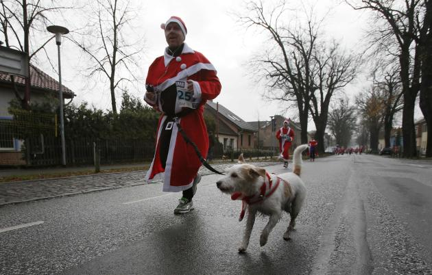 A dog runs with his owner in the so-called Santa Claus Run in the east German town of Michendorf near Berlin