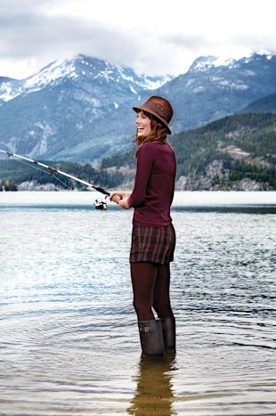 BC, like, model in lake, fly fishing