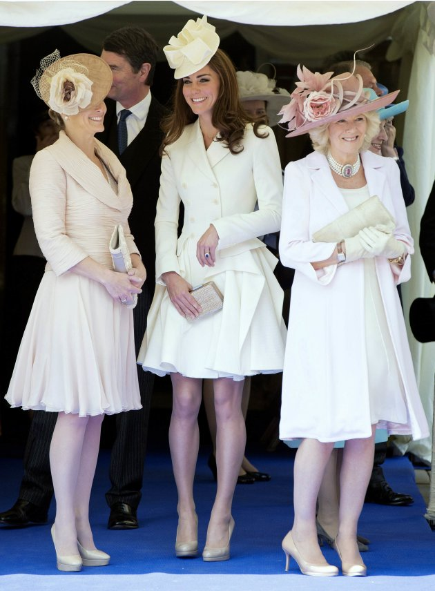 Britain's Catherine, Duchess of Cambridge, Camilla, Duchess of Cornwall and Sophie, Countess of Wessex attend the annual Order of the Garter Service at St George's Chapel at Windsor Castle in