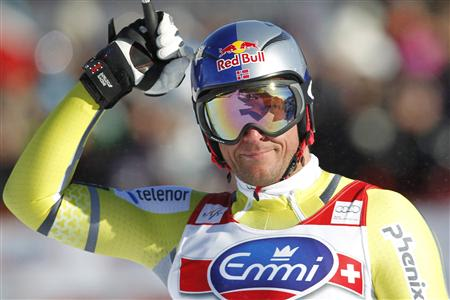 Svindal of Norway reacts at the finish of the Alpine Skiing World Cup downhill race in Kvitfjell