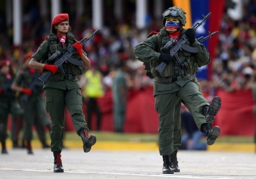 Members of the Venezuelan army take part in a military parade